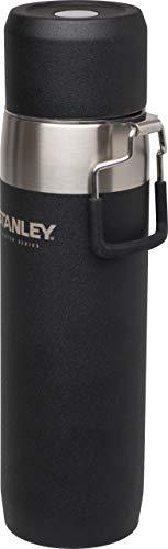 Stanley Master Quadvac Vakuum-Isolierflasche, 0.65 L, Foundry Black, 18/8 Edelstahl, doppelwandig vakuumisoliert, Auslaufsicher, Thermosflasche, 18 Stunden heiß oder kalt