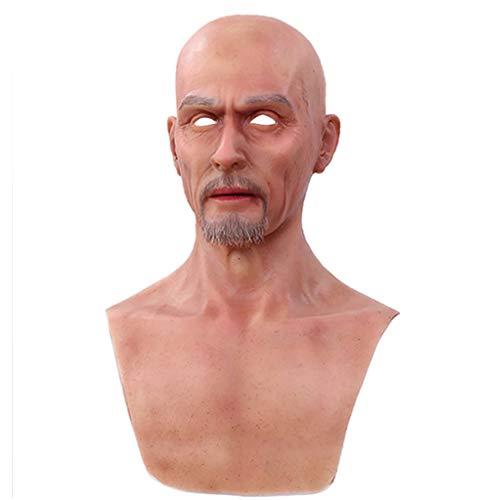 WANGXN Realistische Kopfmaske Old Man Full Head für Crossdresser Cosplayer Halloween Kostüm Latex Kopfmasken