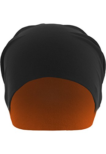Urban Classics Jersey Beanie reversible, Color:blk/neonorange;Größe:one size