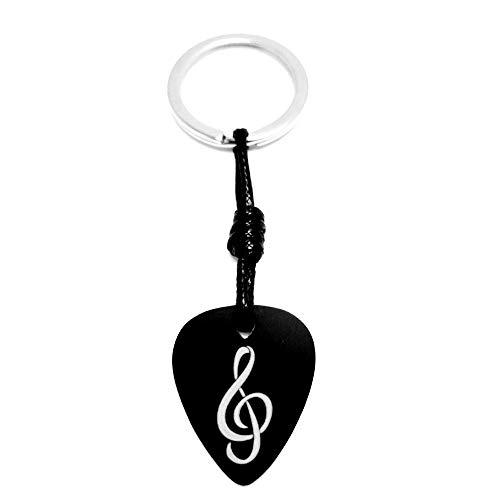 Schlüsselanhänger Plektrum Gitarre schwarz eloxiertem Aluminium mit Gravur Schlüssel Sonne