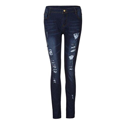 Frauen Hohe Taille Destroyed Denim Skinny Jeans mit Taschen, [Geschenk Valentinstag], navy, xxxl (Junioren-low-rise-leggings Hose)
