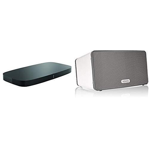 Sonos playbase soundbase wireless per l'home theater e lo streaming musicale, nero + sonos play3eu1 - lettore all-in-one, wireless, controllabile da smartphone, tablet e pc, bianco