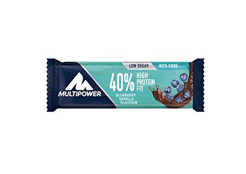 Multipower 40% Protein Fit - 24 x 35 g Eiweißriegel Box - Blaubeer Vanille - Fitnessriegel mit 40 % hochwertigem Milchprotein - 14 g Eiweiß pro Proteinriegel -