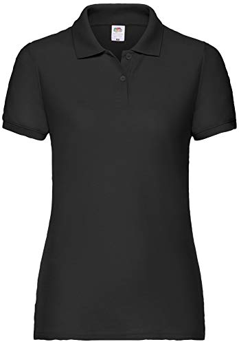 Fruit of the Loom Damen Lady-Fit Poloshirt 65/35 Schwarz M
