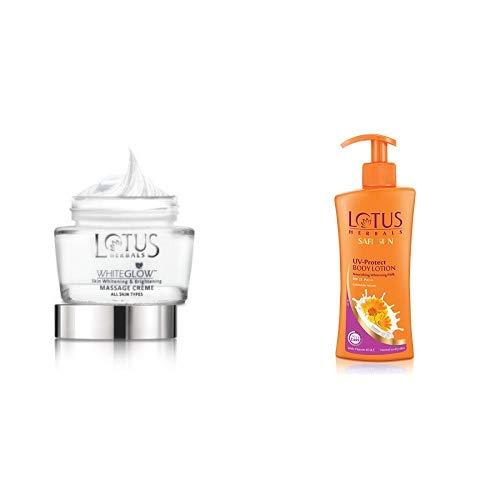 Lotus Whiteglow Deep Moisturising Creme, SPF 20, 60g and Lotus Herbals Safe Sun UV-Protect Body Lotion For Dry Skin, 250 ml