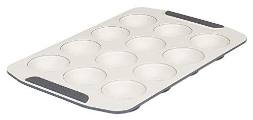 Viking 4040-3506-CGY Backform für Muffins, Keramik, antihaftbeschichtet Muffin Pan, 12 Cup 12 Cups Cream/Gray 12-cup Bundt Pan