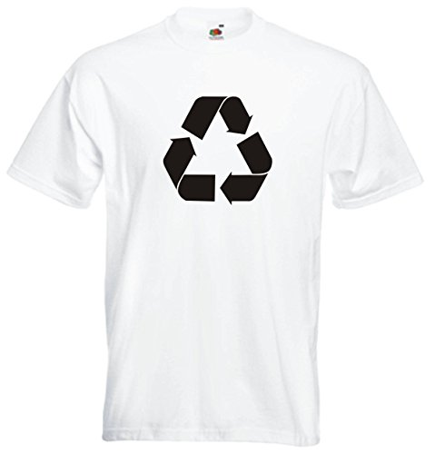 T-Shirt Herren weiss - Recycle Logo 76mm XXL (Ape-logo-t-shirt)