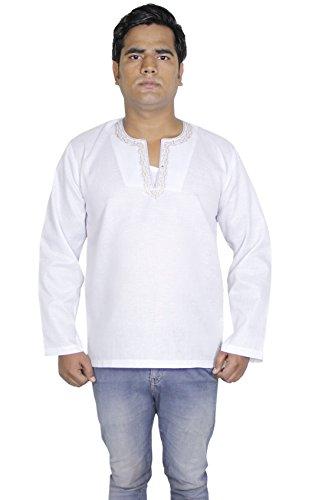 Mens casuale manica lunga in cotone kurta polo t-shirt abbigliamento indiano -l