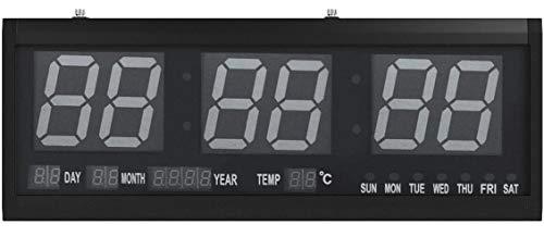 GOTOTOP Wanduhren, Grün LED Wanduhr Digital Uhr mit Datum Temperatur Feuchtigkeit für Büro Bar Cafe, 48 x 19 x 5cm