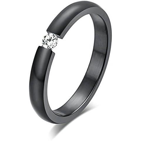 Alimab gioielli anelli donna Acciaio inossidabile Banda nozze liscio tondo ossido zirconio nero Anello Misura 15