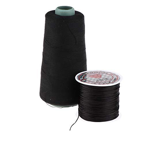 Baoblaze Professionelle Baumwolle Weaving Garn zur Anbringung von Haar Tressen, DIY Perücken Clip in Haarteile - Schwarz -