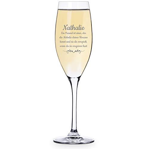 Personello® Sektglas mit Namen graviert - mit individuellem Text oder Spruch gestaltet