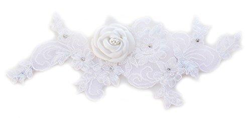 Elfenbein-Spitze bestickte Brautkleid für Perlen. Satin Brosche.