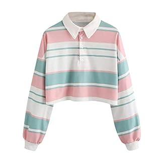 TWIFER Drop Schulter gestreiften Crop Pullover Damen Sweatshirt Top Bluse