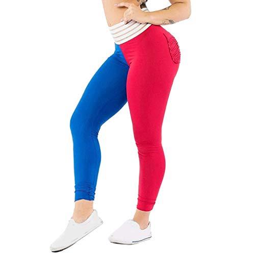 KIMODO® Damen Kontrastfarbe Sport Lässige Hose Fitness Laufen Yoga Leggings Jogginghose mit Tasche Freizeithose
