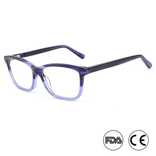 Occhiali da vista a luce blu per l'uso al computer, occhiali da vista con montatura leggera anti-eyestrain, cristalli viola, donne