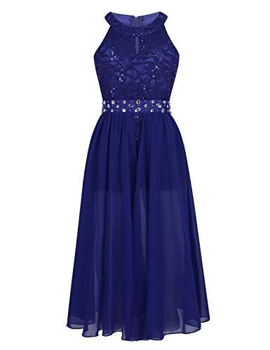 Tiaobug Festlich Mädchen Kleid für Kinder Prinzessin Spitzen Kleider Hochzeit Blumenmädchenkleid 92 104 116 128 140 152 164 Blau mit Shorts 152