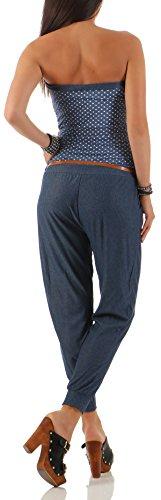 malito Damen Einteiler mit Punkten | Overall im Jeans Look | Jumpsuit mit Gürtel | Hosenanzug �?Playsuit 9651 Jeansblau