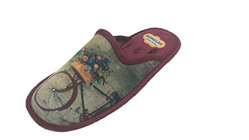 Zapatilla de Estar por casa/Mujer/Biorelax/Bicicleta/Burdeos/Empeine Grenoble/Suela de Goma Antideslizante/Cámara de Aire/Talón Acolchado