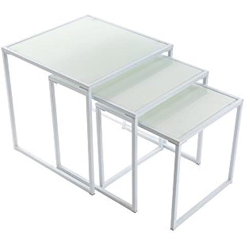 Versa 20880014 - Juego de 3 mesas, color blanco