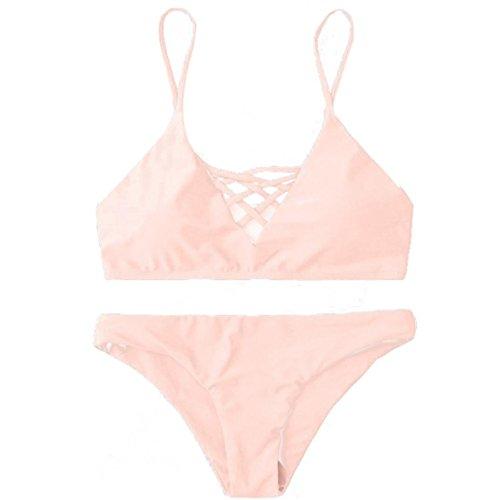 OVERDOSE Damen Push Up Bikini-Sets Tankini Slip Beaderock Neckholder Bandeau Badeanzug Bademode swimwear swimsuits (S, Rosa) (Neckholder-bikini Tankini)