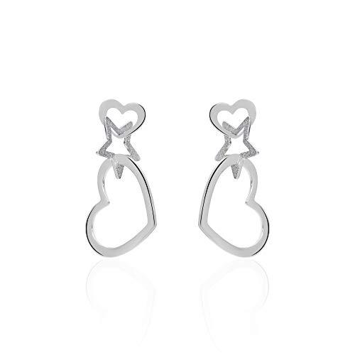 Stroili - Orecchini cuore pendenti in acciaio rodiato diamantato per Donna - LOL