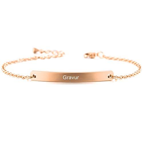 MeMeDIY Edelstahl Armband Link Einstellbar Verstellbaren Rosé Gold Ton Gravur