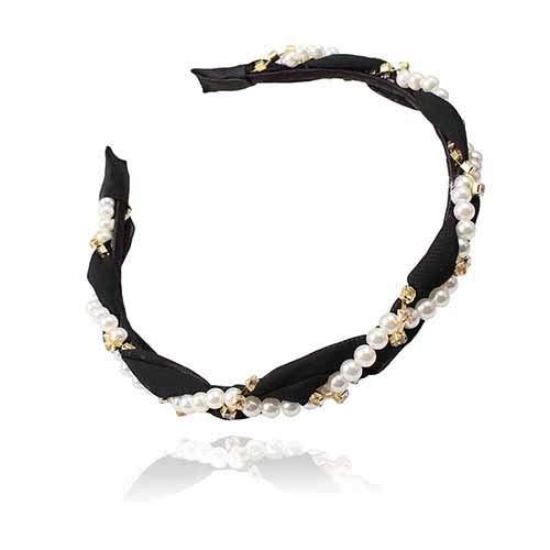 Yingteng New Retro Nachahmung Braut Haarband Stirnband Schmuck Frauen Kleid Zubehör Großhandel Perlen Haarband schwarz (Großhandel Perlen Neuheit)