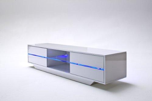 Robas Lund 59075W14 Blues Media TV Lowboard, Klarglasboden, RGB LED Wechselbeleuchtung mit Fernbedienung, 4 Schubkästen, 2 Fächer, 160 x 40 x 36 cm, MDF Hochglanz weiß lackiert - 3