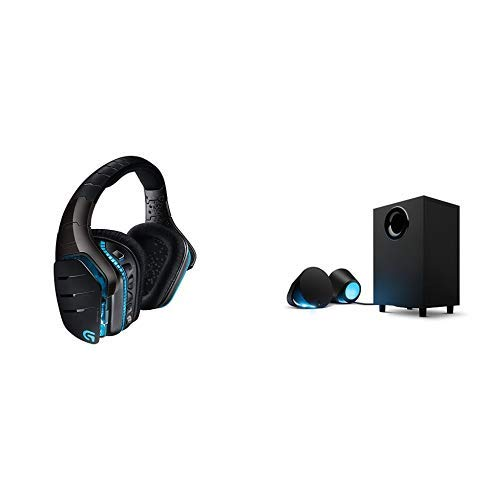 Logitech G933 Cuffia Wireless con Microfono per PC/Xbox One/PS4, Audio Surround 7.1, Nero + Logitech G560 PC Gaming RGB Altoparlanti con DTS X Ultra Surround Sound i Illuminazione LightSync Ba