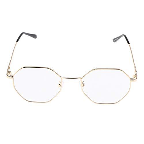 Baoblaze Metall Frame Unregelmäßige Octagon Metallrahmen Brille Retro Metall Klare Linse Brille, Unisex - Roségold