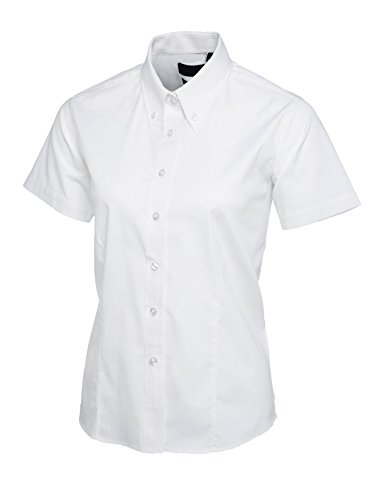Damen Zielgenau Oxford Hemd Mit Kurzen Ärmeln Works Uniform Kellnerin Business - Weiß, 3XL