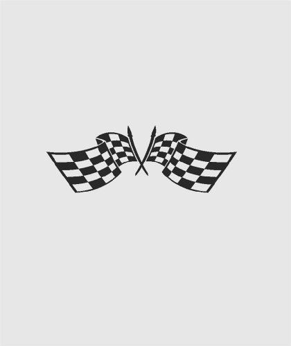 e Auto Car Go Kart Crossed Flags Mens Racing Sports Speed Thrill - Peel & Stick Sticker - Vinyl Wall Decal- Size : 8 Inches X 16 Inches - 22 Colors Available by Design With Vinyl Decals (Checkered Race Flags)
