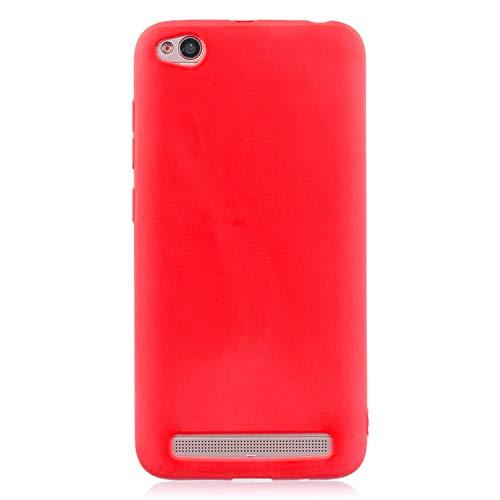 cuzz Funda para Xiaomi Redmi 5A+{Protector de Pantalla de Vidrio Templado} Carcasa Silicona Suave Gel Rasguño y Resistente Teléfono Móvil Cover-Rojo
