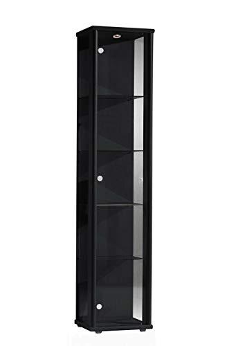 BR-Wohndesign Glasvitrine Sammlervitrine Vitrine LED beleuchtet incl. 4 Glasböden ESG Schwarz 176x37x33 cm 1trg