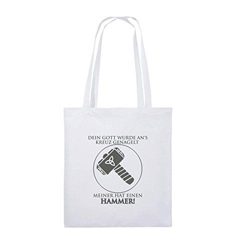 Comedy Bags - DEIN GOTT KREUZ - MEINER HAMMER - Jutebeutel - lange Henkel - 38x42cm - Farbe: Schwarz / Pink Weiss / Grau