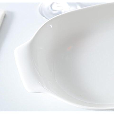 XQXPiatto dessert di tavolo in ceramica bianco puro pollo ala delle piastre rettangolari lunghe del piatto di sushi piatto torta 3 , 12 inch ears fish dish