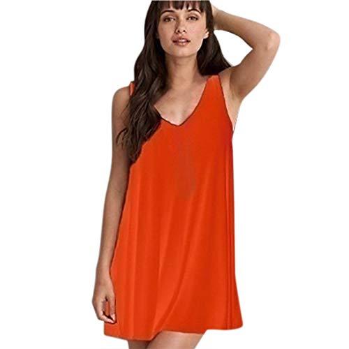 en Große Größen Kurze Sexy Rückenfreies Solid Ärmellos Strandkleid Rundhals für Frauen Casual Strand Princess Minikleid ()