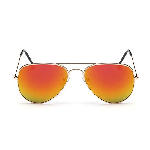 QHGstore Unisex Klassisch Männer / Frauen Metallrahmen Aviator Retro Sonnenbrille im Freien Spielraum Brillen Brillen Gold frame & red