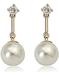 Juego de pendientes de con cristales de Swarovski Pearl en 18ct acabado dorado - regalo Ideal para pantalones de deporte para mujer y niñas - se envía en caja de regalo