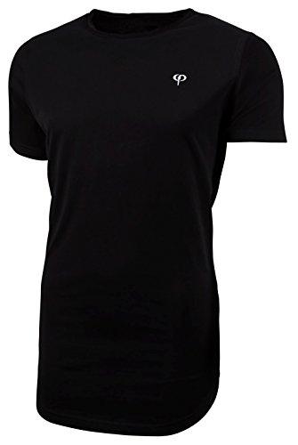 PHINOMEN Herren T-Shirt OVERSIZE CUTTED NECK SHIRT Black