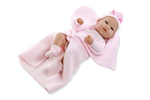Arias - Muñeca bebé real baby, con manta rosa, 42 cm (65071)