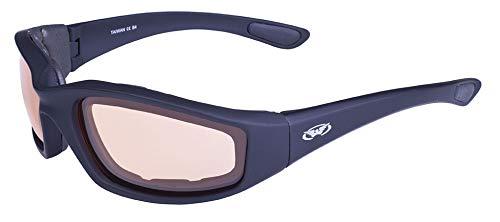 Global Vision Eyewear Sonnenbrille Kickback Sunset Serie mit matt schwarz Rahmen und Orange PHOTOCHROME Linsen