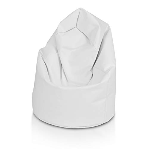 Ecopuf Sacco L - Pouf Poltrona Sacco Puff Poliestere 110X70 Cm 220 Litri Doppie Cuciture (Puf Pieno) (Bianco NC3)