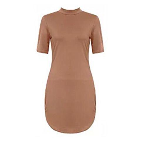 Frauen Curved 3/4 kurzen Ärmeln Hoch Polo Hals Tunika Mini Kleid Top Kamel