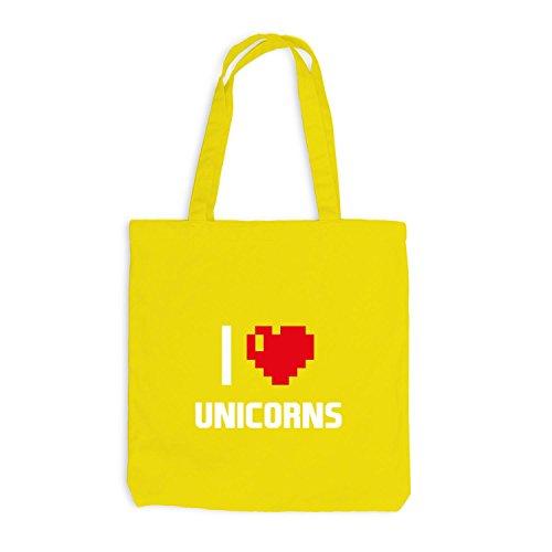 Jutebeutel - I Love Unicorns - Einhorn Girly Gelb
