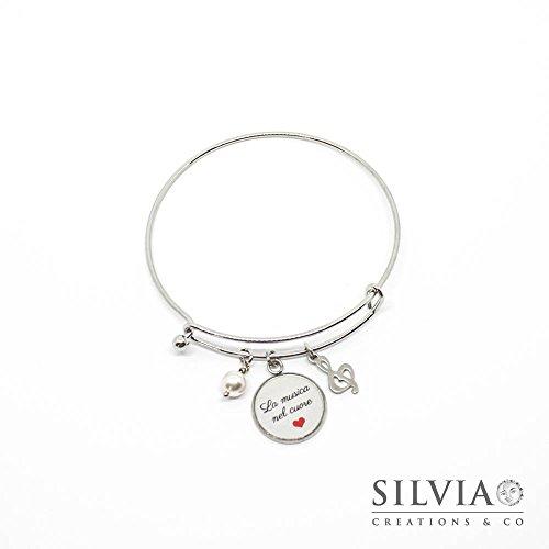 orologio 672a5 48772 bracciale donna in acciaio rigido con ciondolo tondo e chiave | Offerta