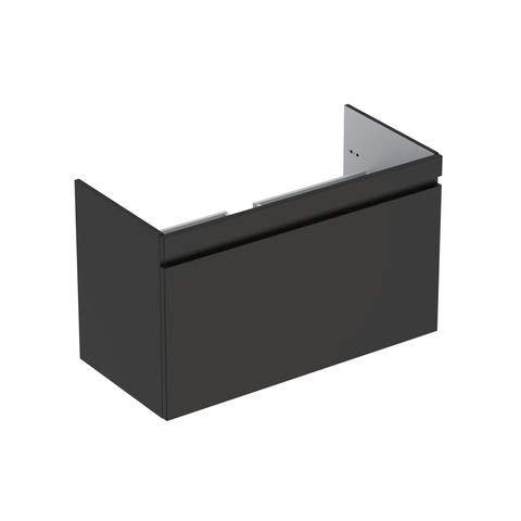 Keramag Geberit Renova Plan Waschtischunterschrank für Waschtisch, schmaler Rand mit 1 Schublade, 98,8x58,5x47,3cm, Lava, 869501000 -