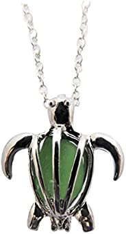 """Hawaii Gioielli, preziosi collana desiderio medaglione""""Hawaiian Green Sea Turtle"""" con vetro naturale"""