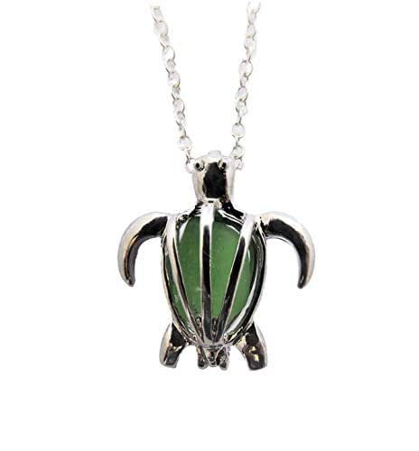 """Hawaii Gioielli, preziosi collana desiderio medaglione""""Hawaiian Green Sea Turtle"""" con vetro naturale del mare, (Hawaii regalo avvolto, personalizzabile regalo Message)"""